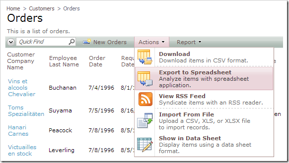 The action 'Export to Spreadsheet' is available in the Orders controller.