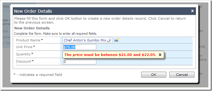 Price validation in form view on Unit Price field.