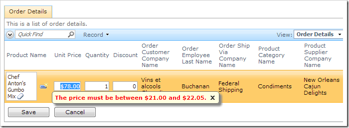 Price validation in Order Details data sheet view.