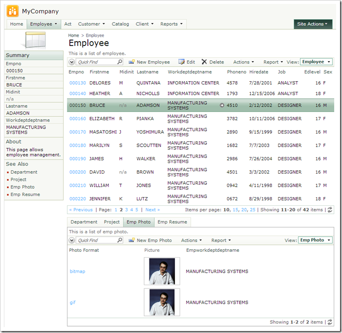 Default Employee page of a generated web application from SAMPLE DB2 database.