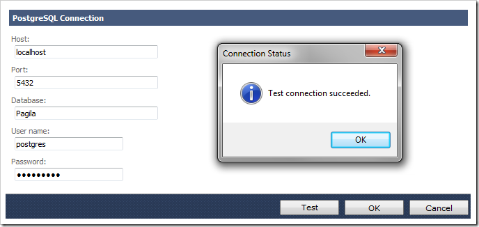 Successful test of PostgreSQL connection string.