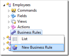 Creating a new business rule for Employees controller.