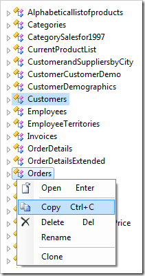 Copying Customers and Orders data controller nodes.