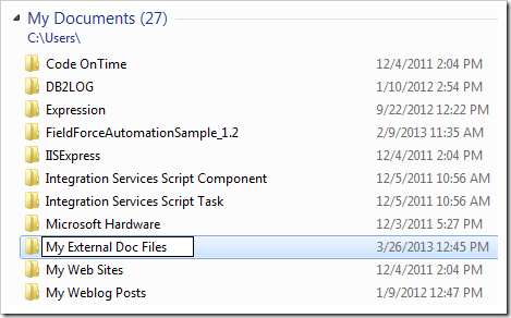 Creating the 'My External Doc Files' folder in My Documents.