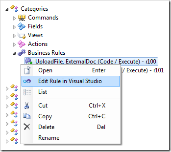 Editing the UploadFile business rule in Visual Studio.