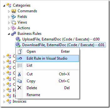 Editing the DownloadFile business rule in Visual Studio.