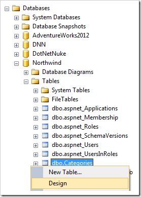 Designing the Categories table in SQL Server Management Studio.
