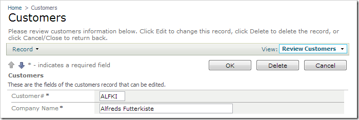 OK, Delete, and Cancel actions displayed when a record is edited.