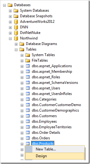 Designing the dbo.Products table in Northwind database.