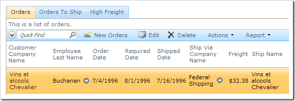 Multiple tabs displaying different lists of Orders.