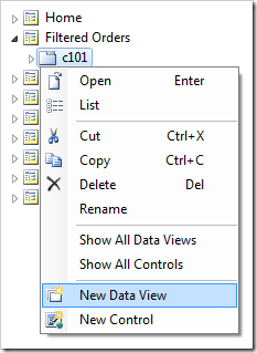 Adding a data view to container 'c101'.