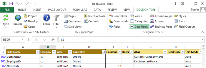 List of data fields in Code On Time Tools for Excel.