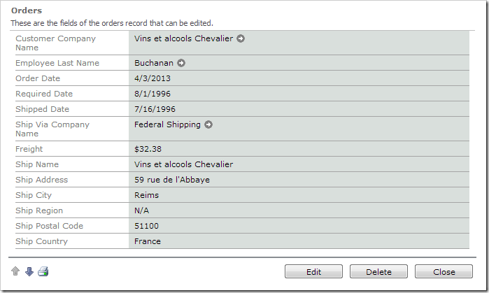 Default Orders edit form.
