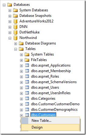 Designing the Customers table of Northwind database.