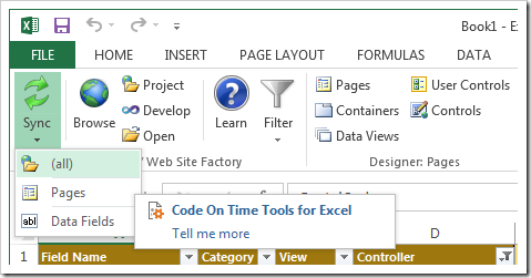 Synchronizing project changes in Tools for Excel.
