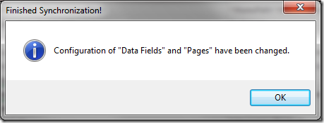 The changes have been synced for data fields and pages.