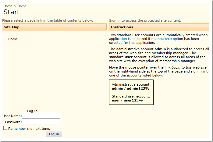 Standard ASP.NET login control is present at the bottom of the page.