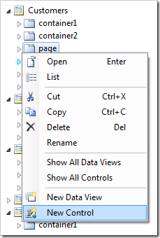 Creating a new control in the 'page' container of Customers page.