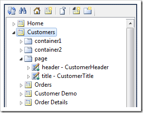 Customers page node in the Project Explorer.