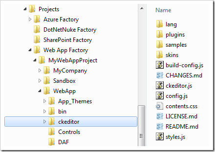 Copying the ckeditor folder into the 'WebApp' folder of a Web App Factory project.