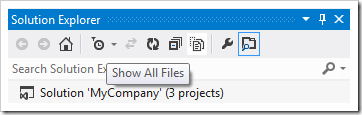 Activating 'Show All Files' button in the Solution Explorer.