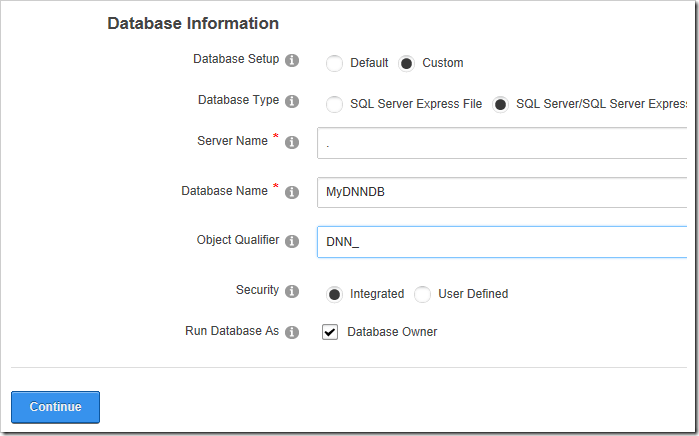 Specifying database information for the DotNetNuke instance.