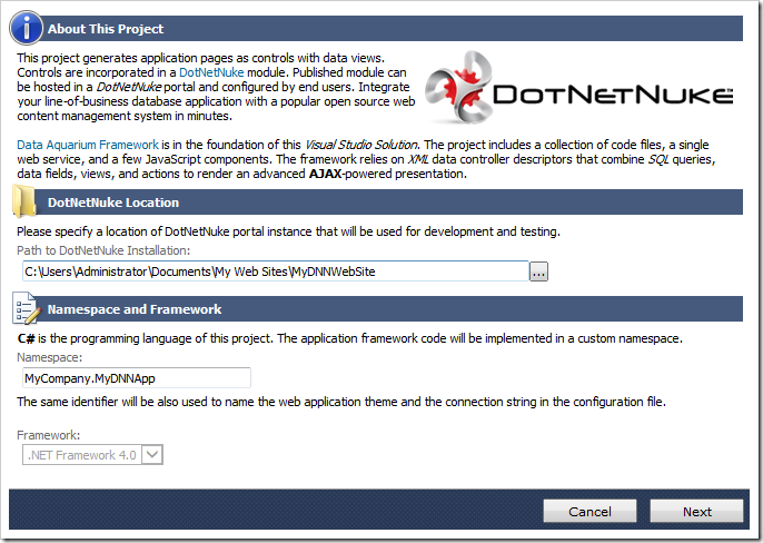 Specifying the DotNetNuke location.