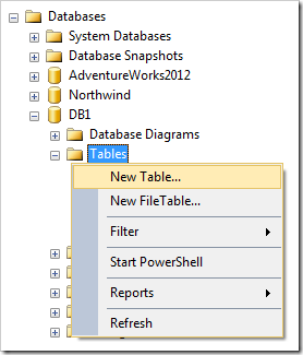 Adding a new table to database DB1.