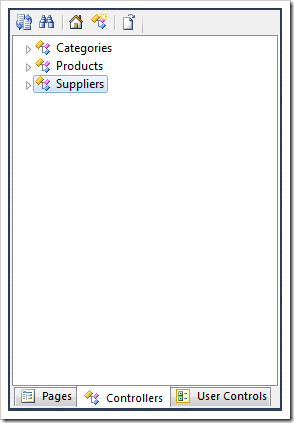 The Suppliers controller selected in the Project Explorer.