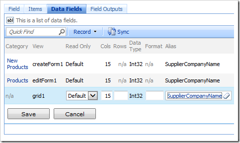 Setting the Alias of SupplierID data fields to 'SupplierCompanyName'.