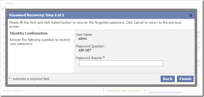 The Password Recovery form.