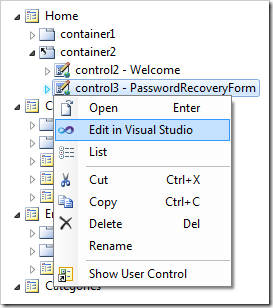 Editing the user control in Visual Studio.