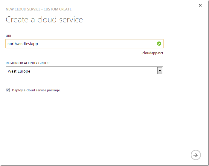 Specifying a URL for the new cloud service.