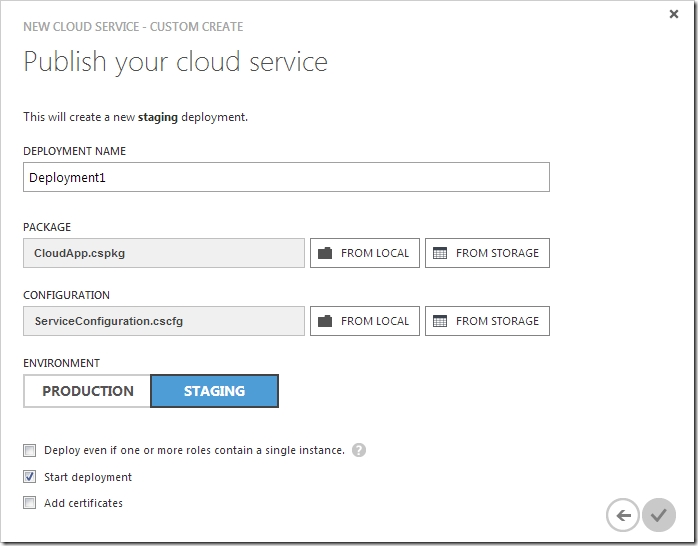 Specifying parameters for publishing the new cloud service.