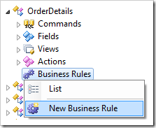 Creating a new business rule for OrderDetails controller.