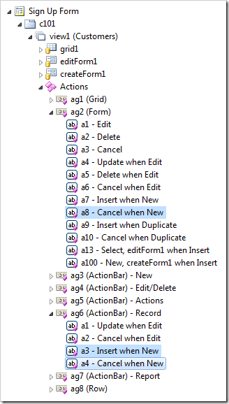Data controller actions that must be deactivated when SignUpForm is displayed to the user.