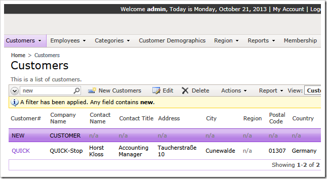 Authenticated users can interact with a full list of customers in our sample.