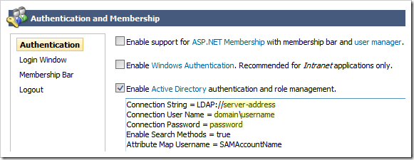 Enabling Active Directory authentication and role provider and specifying the configuration properties.