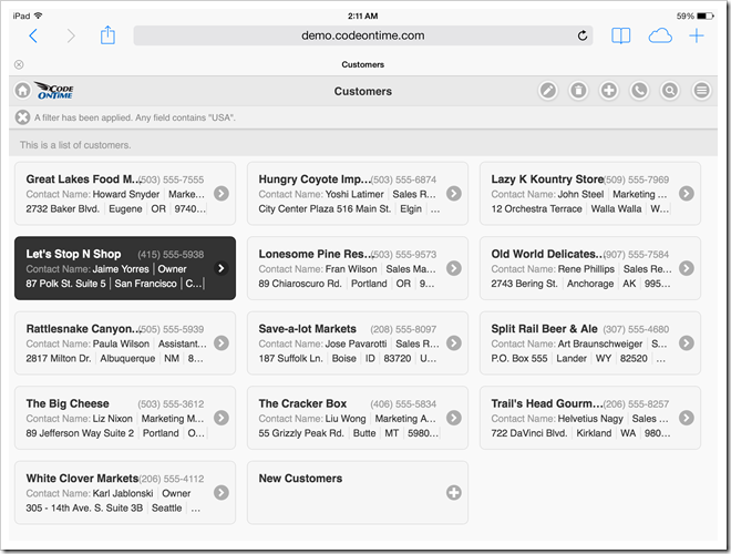 Mobile app created with Code On Time displayed with undocked sidebar in landscape orientation on Apple iPad Air.