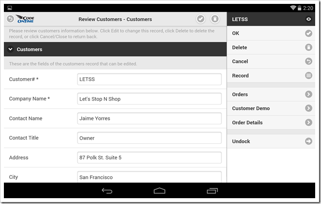 Form view of a mobile app created with Code On Time displayed with docked sidebar in landscape orientation on Google Nexus 7.