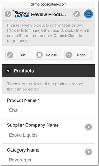 Tap a context menu button on the toolbar to see a complete list of actions available in a mobile app created with Code On Time mobile database app generator.