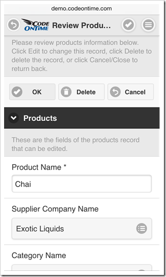 A form view is displayed in edit mode in response to 'Edit' action in a mobile app created with Code On Time mobile database app generator.