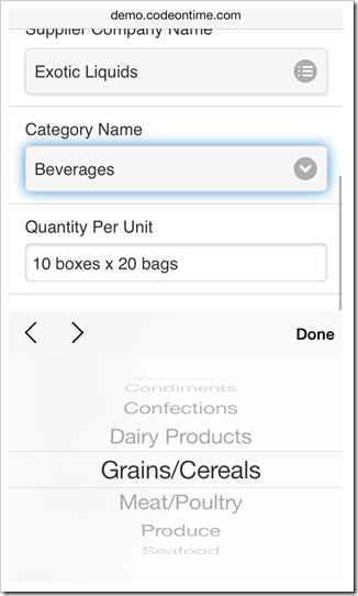 A native 'select' input control is displayed for lookup fields with lists of values in mobile apps created with Code On Time mobile database app generator.
