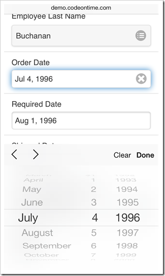 A native date input control of iOS 7 is shown in a form view of a mobile app created with Code On Time application generator.
