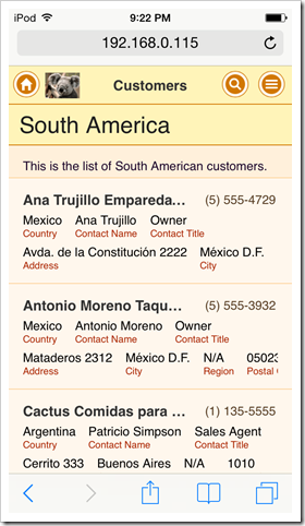 An example of a custom application logo in a live web app with Touch UI created by Code On Time app generator.