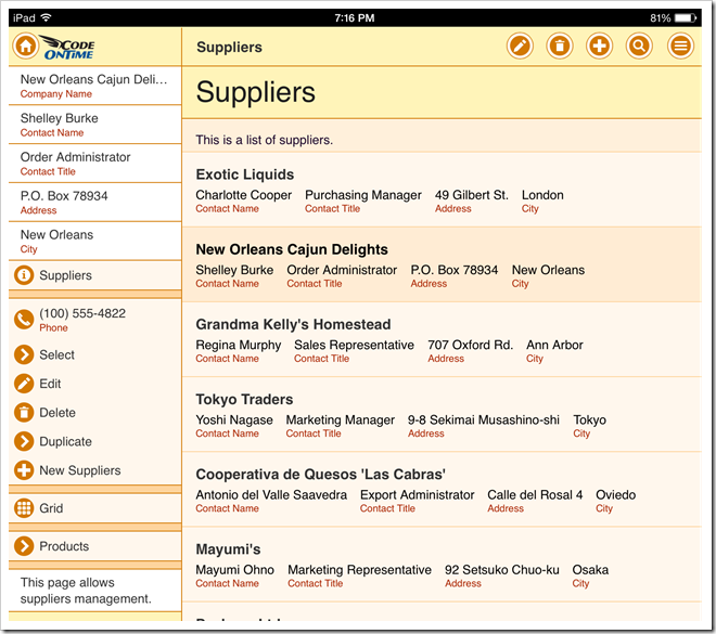 The default presentation of Suppliers list on iPad Air.