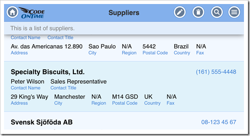 A list of suppliers displayed on iPhone 5 in landscape orientation has all field values visible in an app with Touch UI. The app has been produced with Code On Time app generator.