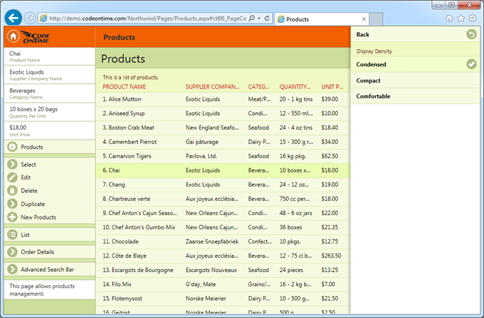 A list of products displayed with 'Condensed' density and 'Grid' style on a desktop computer in IE11.
