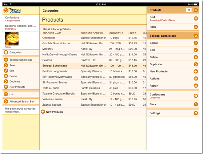 A repsonsive grid in a web app with Touch UI shows a context menu of actions that can be applied to the selected row and entire data set. Application has been created with Code On Time app generator.