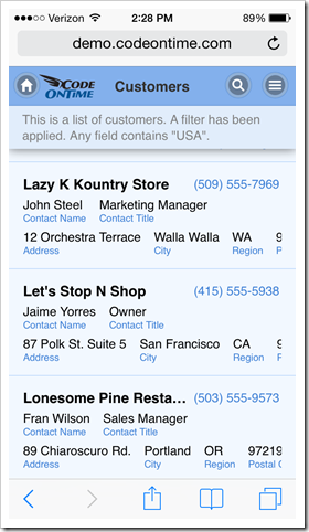 Web app created with Code On Time displayed in Safari web browser on iPhone 5.